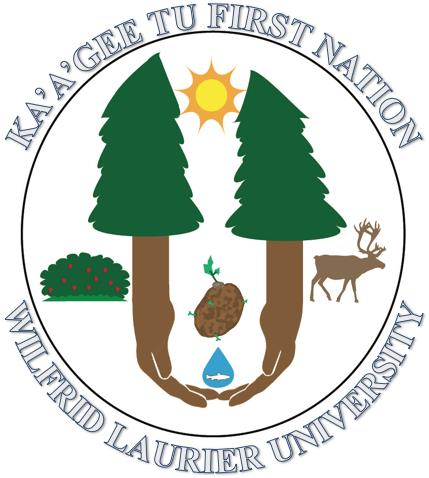 Drawn logo: Two evergreen trees are parallel with a sun, potato, and water droplet containing a fish between them. The brown trunks extend down and become two hands touching below the water droplet. To the left of the trees is a green bush with red berries. To the right of the trees is a caribou. Above the logo is the text: Ka'a'gee Tu First Nation. Below the logo is the text: Wilfrid Laurier University.